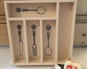 Wooden Cutlery Tray with Knife, Fork & Spoon Motif