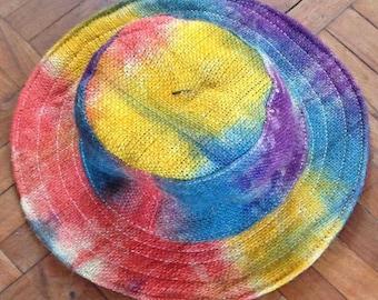 100% THC Free Bohemain Mulitcolor Pure Hemp Sun Hat