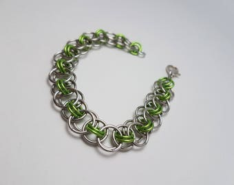 Green Handmade Helm Weave Chainmaille - Bracelet Woman's Large