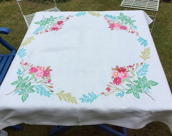 Hand Embroidered Floral Tablecloth Pinks and Reds