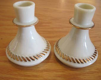 Wheaton Glass-Custard Glass Candle Holders - Item #1416