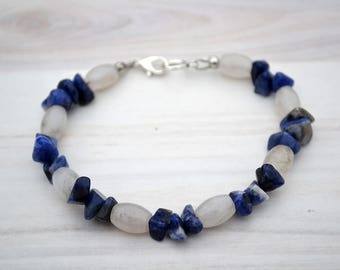 Quartz bracelet, Blue sodalite bracelet, Quartz gift, Quartz jewelry, Sodalite bracelet, Sodalite jewelry, Sodalite gift, Blue bracelet