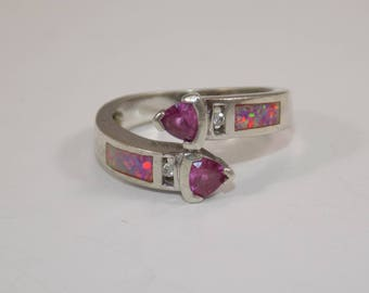 Sterling silver with synthetic sapphire and faux opal ring size 6 3/4