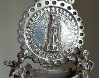 Small Antique Our Lady Of Guadalupe Solid Sterling Silver Holy Water Font  Blessed Mother Virgin Mary Catholic Gift Religious Gift