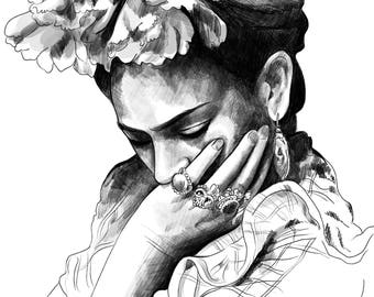 Frida Kahlo - Pencil Illustration high quality giclee Print of Mexican painter