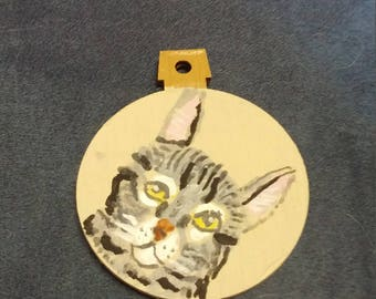 Grey tabby cat ornament custom