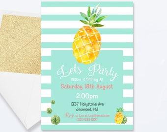 Pineapple Summer Birthday Invitation - Pineapple Invitation - Pineapple Invite - Pineapple Summer Birthday Invite