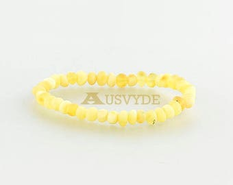 Baltic amber raw bracelet for women Baroque style, Healing Beads, Opaque color, 5740