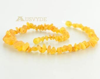 Baltic amber raw Chips necklace for Adults, Light color, Unpolished (raw) Amber nuggets beads, Healing amber, 1853