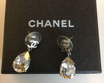 Chanel Silver CC Tear Drop Crystal Shiny Piercing Earrings