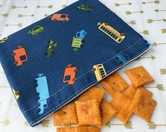 Boys Love Trucks Reusable Snack Bag