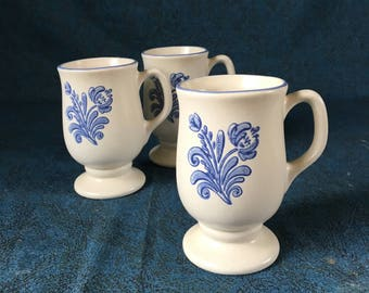 Vintage Pfaltzgraff Yorktowne Footed Irish Coffee Mugs, Set of 3