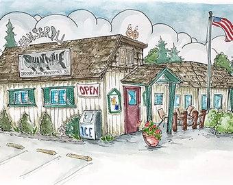 Hansgrill, Hansville, WA - Whimsical Watercolor Art, Blank Greeting Card