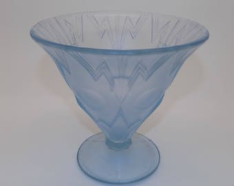 Art Deco Blue Frosted Glass Vase