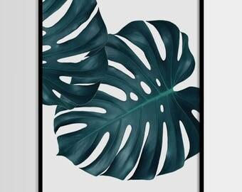 Monstera print, Tropical, Plant, Minimal, Tropical leaf, Modern art, Wall decor, Digital art, Printable, Digital art Instant Download 16x20