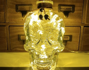 JayEngrave 700ml Pirate Skull Head Warm White LED Glass Bottle Lamp Light