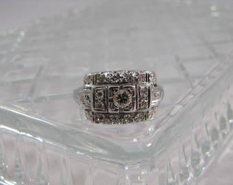 Vintage White Gold Triple Row Diamond Ring