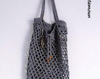 Grey cotton crocheted net bag