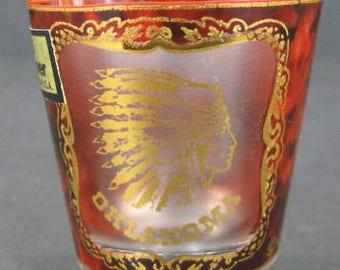 Culver Shot Glass 22KT Oklahoma Buffalo Native American Souvenir Original Label