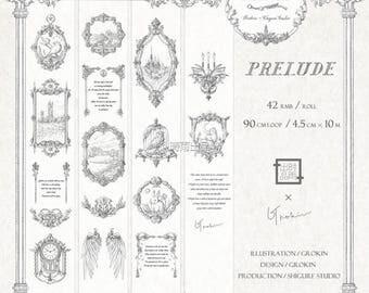 Washi paper masking tape Prelude and Epilogue Vintage decorations illustrations/ Vintage frame/DIY/Wrapping