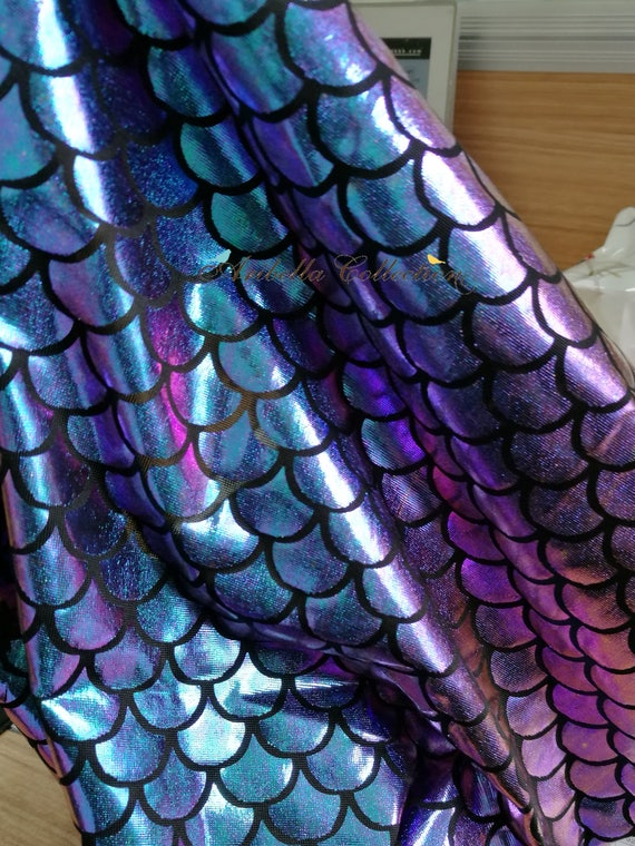 Mermaid fish scale foil print fabric 2 way stretch hologram for Fish scale fabric