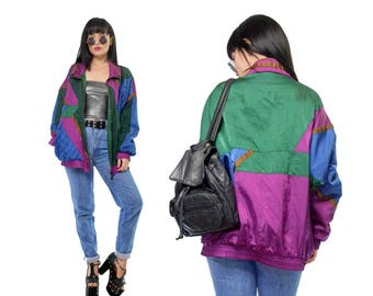 vintage 90s windbreaker jacket satin colorblock slouchy metallic soft grunge patchworkquilted iridescent jacket retro hipster large
