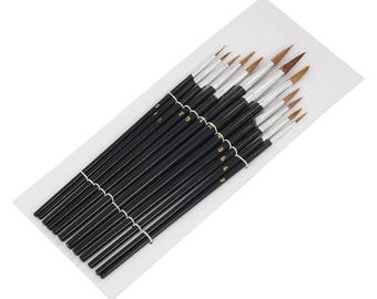 12pc Assorted Size, Pointed Tip, Paint Brushes, Artists, Painter, Craft Brush Set, Model Making CT0544