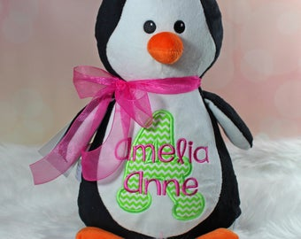Embroidered Penguin, STuffed Penguin, Personalized Penguin, Birth Announcement
