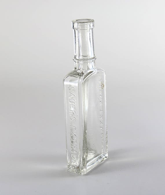 Antique Sauers Extracts Bottle 1890s Cooking Baking Kitchen Decor