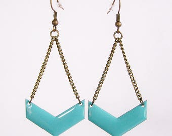 Turquoise blue enameled chevron earrings