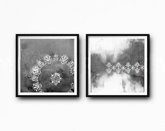 Set of 2 Prints, Downloadable, gray,  black, white, vintage ornament painting, decorative vintage, rustic home decor, vintage style