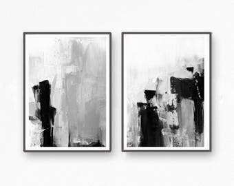 Set of 2 Prints, 2 Black & White Abstract Art, instant download, Minimal art, A3 A4 Prints,  print Gallery wall art, Abstrac Set, grey