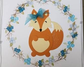 Handmade cute fox/woodland/wreath/floral/birthday/blank/greetings card