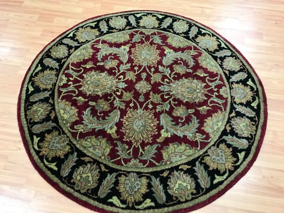 """4'2"""" x 4'2"""" Round Indian Agra Oriental Rug - Full Pile - Hand Made - 100% Wool"""