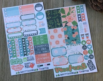"Small Weekly Planner Sticker Kit ""Sweet Floral"""