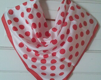 Vintage Coin Dot scarf in Acetate twill //1960's large polka dot, red and white, acetate twill, made in Japan
