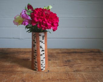 Cylindrical Ceramic Bud Vase with White Birch Motif