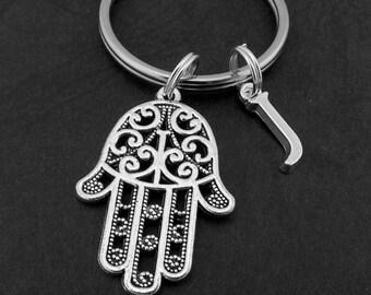 Hamsa Hand KeyChain, Hamsa Hand KeyRing, Protection Key Chain, Protection key ring, Personalised Key chain, Yoga Jewellery,
