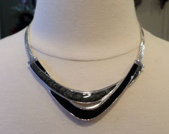 Trifari Signed, Vintage, Silver Tone and Enamel, Choker Necklace.