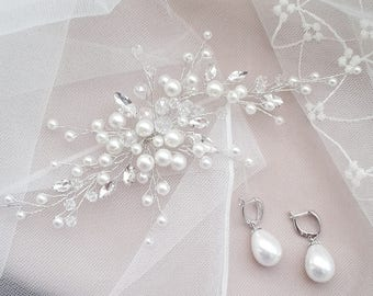 Pearl headpiece bridal hair vine crystal wedding hairpiece