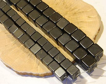 Shungite Polished Cube Beads strand 10 inches EMF Protection Healing stone from Karelia