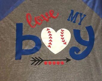 Love My Boy Baseball Shirt Customized