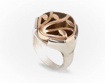 Winter vine ring 9ct & silver