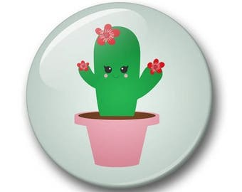 Cactus badge 32mm | Cute kawaii cactus pin back button | kawaii pin badge  | kids party | Gift Party Favor | bunny Accessory