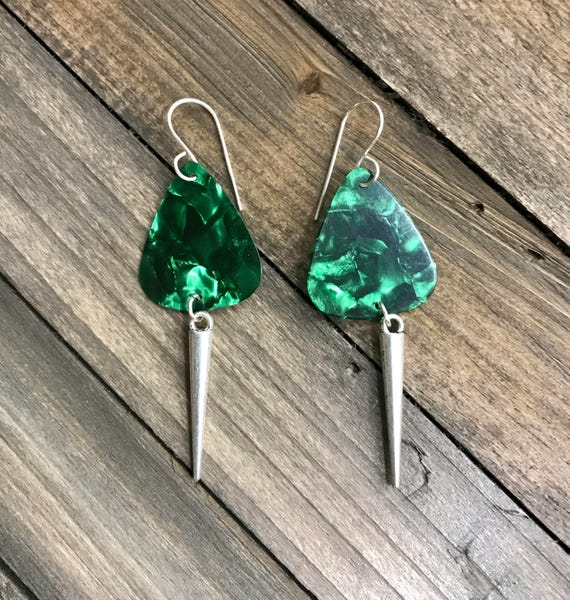 Vibrant Green Guitar Pick dangle earrings
