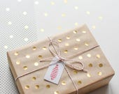 Round gold stickers, gold circle stickers, Gold dots, gold stickers, christmas sticker, gift wrap gold, metallic stickers, holiday stickers