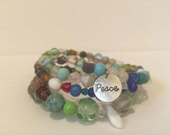 Multicolor Peace Wrap Bracelet