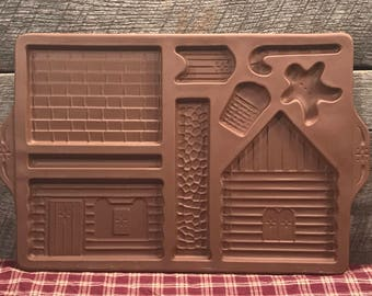 Vintage Longaberger GINGERBREAD HOUSE Redware Cookie Mold, Stoneware, Christmas Cookies,Christmas Decor,