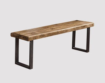 Industrial Reclaimed Timber Bench with U Base