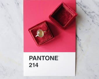 Ring Box - Velvet Ring Box - Vintage Style - Proposal Ring Box - Engagement ring box - Wedding - Personalized Gift -  Burgundy Red
